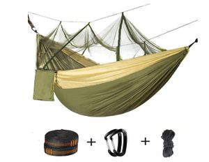 Double Camping Hammock with Mosquito Net - 2 Person Parachute Hammock Lightweight Portable Hammock with Tree Straps for Backpacking Travel Beach for Sale in Rancho Cucamonga, CA