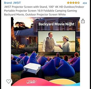"""JWST Projector Screen with Stand, 100"""" 4K HD Outdoor/Indoor Portable Projector Screen 16:9 Foldable Camping for Sale in El Monte, CA"""