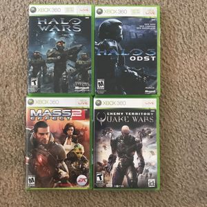XBOX 360 - Halo Wars 1 Live, Halo 3 Live- Quake Wars And Mass Effect 2 for Sale in Dana Point, CA