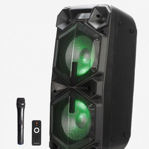 """Brand new Party Speaker that comes with two 12"""" woofers. Bluetooth. USB. LED lights. FM radio. Wireless microphone and remote control included. for Sale in Miami, FL"""