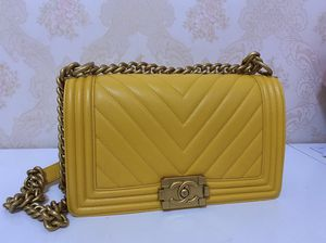 Chanel yellow chevron leboy bag for Sale in Irvine, CA