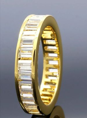 18K Yellow Gold Baguette Cut CZ Womens Eternity Wedding Unisex Band Promise Ring for Sale in Los Angeles, CA