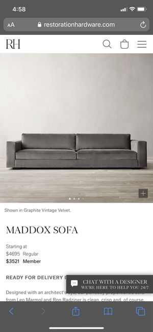 RESTORATION HARDWARE MADDOX SOFA for Sale in Jersey City, NJ