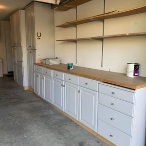 Cabinets, shelves, kitchen granite, work bench or cabinets for garage storage for Sale in Brentwood, CA