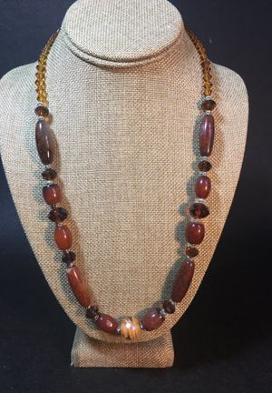 Genuine Stone Necklace w/Amber Colored Crystal Beads- Top Quality & Beautiful Craftsmanship- Like New Condition- Listing Hundreds Of Items for Sale in Biscayne Park, FL