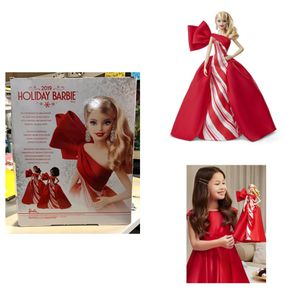 Barbie 2019 Holiday Doll, Blonde Curls with Red & White Gown for Sale in Missouri City, TX