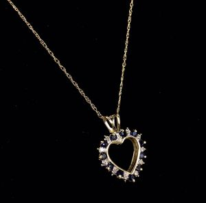 10KYG Sapphire & Diamond Heart Pendant Necklace Set for Sale in Kent, WA