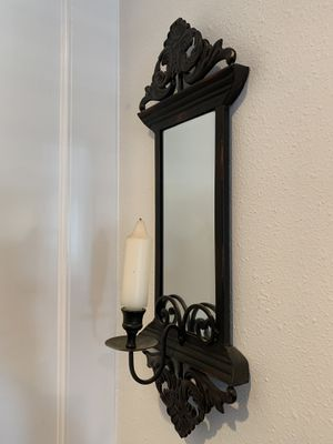 Black wall mount candle holder with mirror and candle for Sale in Wenatchee, WA