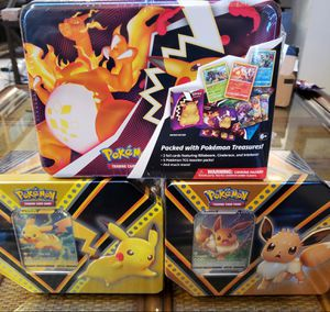 Pokemon cards 2020 fall collectors chest w/ Pikachu v tin and eevee v tin for Sale in Lakewood, CA