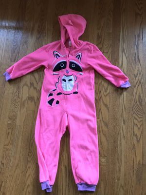 Girls kids pink pajamas size xs 4 / 5 raccoon for Sale in Monrovia, CA