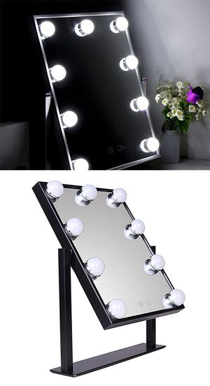 """$50 NEW Small Vanity Mirror w/ 9 Dimmable LED Light Bulbs Beauty Makeup 10x12"""" (Black or White) for Sale in Santa Fe Springs, CA"""