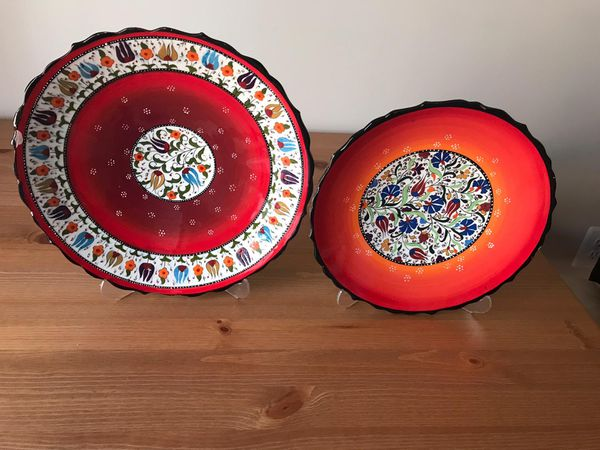 Handmade and hand painted Decorative Glass and China Plate Set