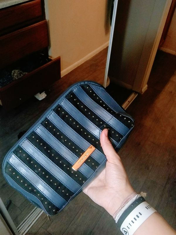 large navy blue & gold cosmetic bag from ulta