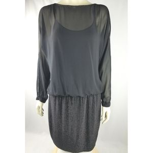 Cache Womens Mini Cocktail Dress Black Cold Shoulder Sequined Chiffon Stretch 12 for Sale in Avondale, AZ