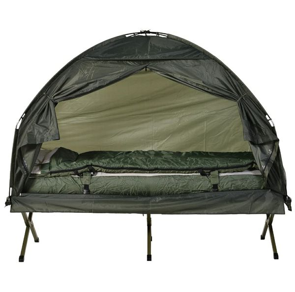 Portable Camping Cot Tent with Air Mattress, Sleeping Bag, and Pillow