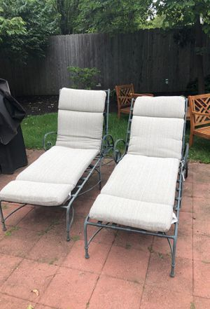 Two adjustable lounge chairs with cushions for Sale in St. Louis, MO