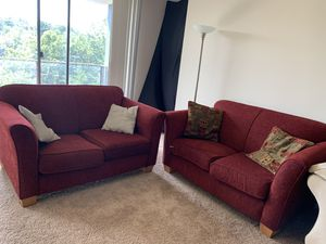 Two Seater Red Couch (Set of two) - Pillows Included for Sale in Alexandria, VA
