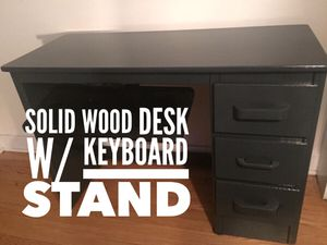 Wooden Office Desk with Keyboard Stand for Sale in Chicago, IL