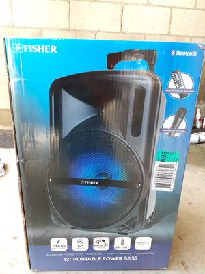 """12"""" Portable Bluetooth Speaker With Trolley And Wheels FM Radio/Aux/Karaoke/ SD Card/ USB Rechargeable 2600 watts for Sale in Riverside, CA"""