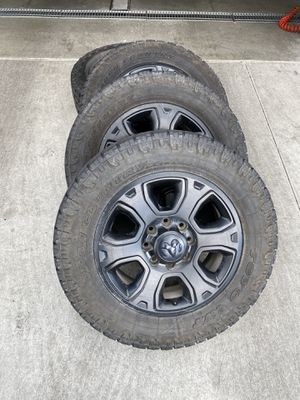 """20"""" 20 Inch Dodge Ram Ram 2500 3500 BLACK wheels rims tire OEM with Tito AT Open Country tires for Sale in Jurupa Valley, CA"""