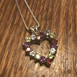 Sterling gemstone heart and chain for Sale in Colorado Springs, CO