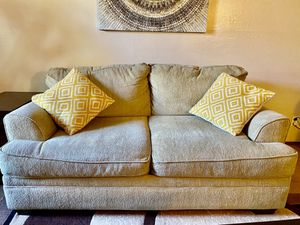 Ashley Furniture Living Room set Sofa & Loveseat Beige Khaki good condition (MOVING OUT SALE) for Sale in San Jose, CA