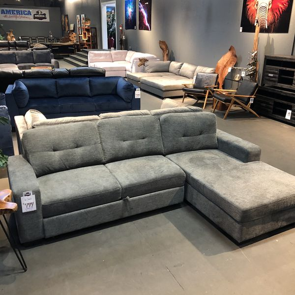 New & In Stock! Grey Sleeper Sofa With Chaise $799 Available In Light Grey