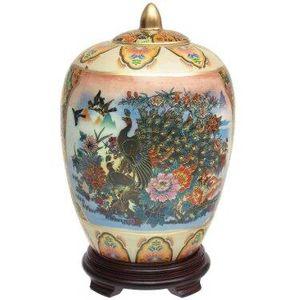 Satsuma ladies & Peacock Porcelain Vase - no lid or base for Sale in West Covina, CA