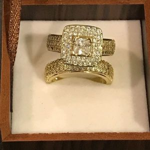 18K Gold plated Diamond Ring Set - Princess Cut for Sale in Houston, TX