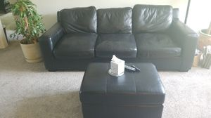 Black leather couch and ottaman for Sale in Cleveland, OH