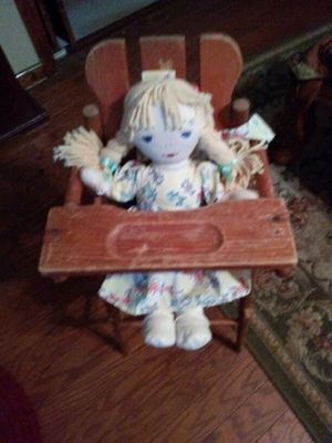Lennon sister rag doll with old doll highchair for Sale in Acworth, GA