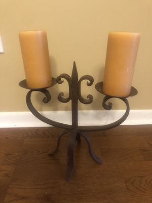 Large Rustic Iron Candle Holder (including candles) for Sale in Indian Head Park, IL