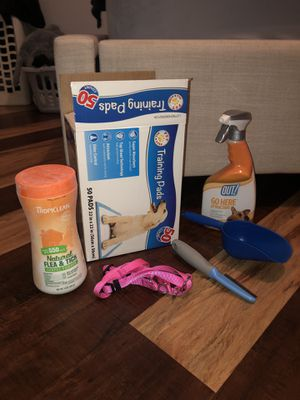 Dog supplies (potty pads, brush, harness, etc) for Sale in Chino, CA