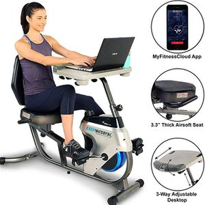 Exerpeutic 2500 Bluetooth 3 Way Adjustable Desk Recumbent Exercise Bike with Airsoft Seat and Free APP for Sale in Miami, FL