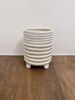 Mid century modern MCM style white tan chic ceramic flower plant pot planter for Sale in Phoenix, AZ