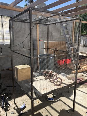 Bird cage with birds and little house for Sale in Phoenix, AZ
