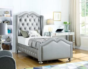 New Belmont silver Leatherette twin size bed (also full queen king) for Sale in Miami, FL