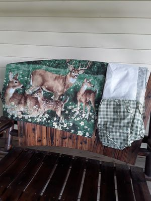 2 deer pillow cases with bed skirt,,,queen size. Never used. for Sale in Linden, PA