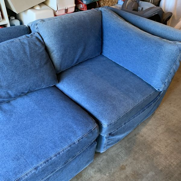 Free Denim Pottery Barn Small Armless Chair & Couch