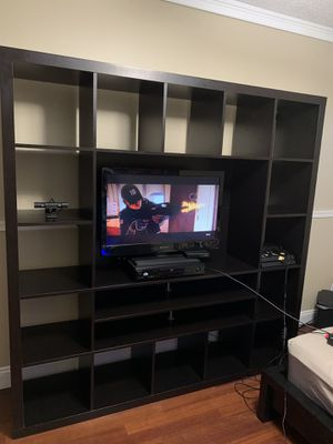 "Entertainment center / Shelf unit dark brown 73""x 73""x 15.5"" for Sale in Pembroke Pines, FL"