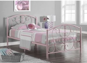Monarch Specialties Pink Metal Twin Size Bed Frame Only, 37-Inch for Sale in Washington, DC