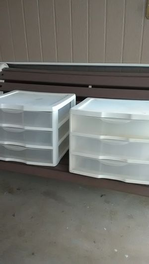 Sterlite White 3 Drawer plastic containers 14x11 $12 for both for Sale in Moreno Valley, CA