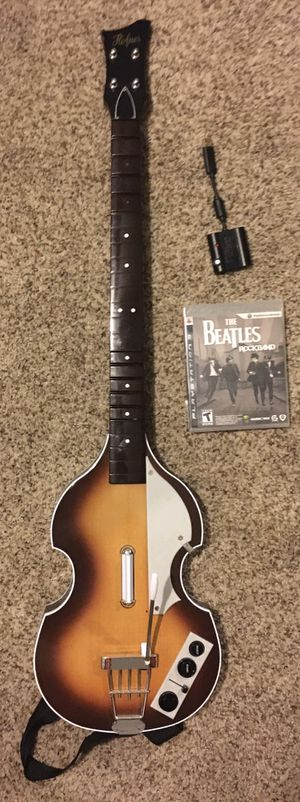 Ps3 Rockband Guitar With Dongle! (Hofner Bass video game controller PlayStation 1 2 3 4 Xbox Nintendo switch guitar hero stadia Christmas present gif for Sale in Glendale, AZ