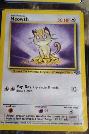 Meowth 1999 Game Jungle Pokemon Gold Border Fruit Roll Promo Card for Sale in Fenton, MO