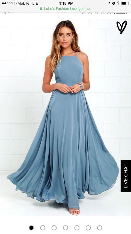 Slate blue flowy chiffon Dress