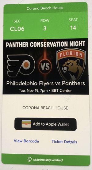 Panthers vs. Philadelphia Flyers 11/19 Corona Beach inclusive beer/wine/food - $90 for Sale in FL, US
