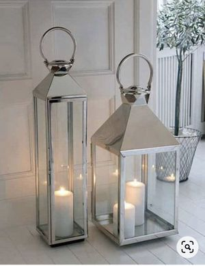 "(1) Silver Stainless Steel Lantern 36"" H $ 60 for Sale in Miami, FL"