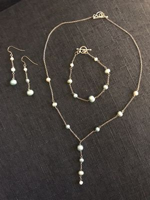 Freshwater, color: Tiffany blue ombré necklace set for Sale in Ashburn, VA
