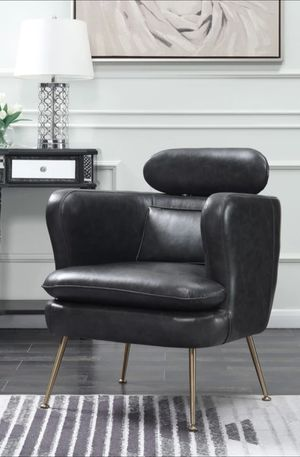 New Brand Orbit Gray Vinyl Leather Accent Chair with Headrest | 1282 for Sale in Houston, TX