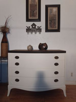 Beautiful antique white and walnut stained solid wood antique dresser Christmas special $220! for Sale in Phillips Ranch, CA